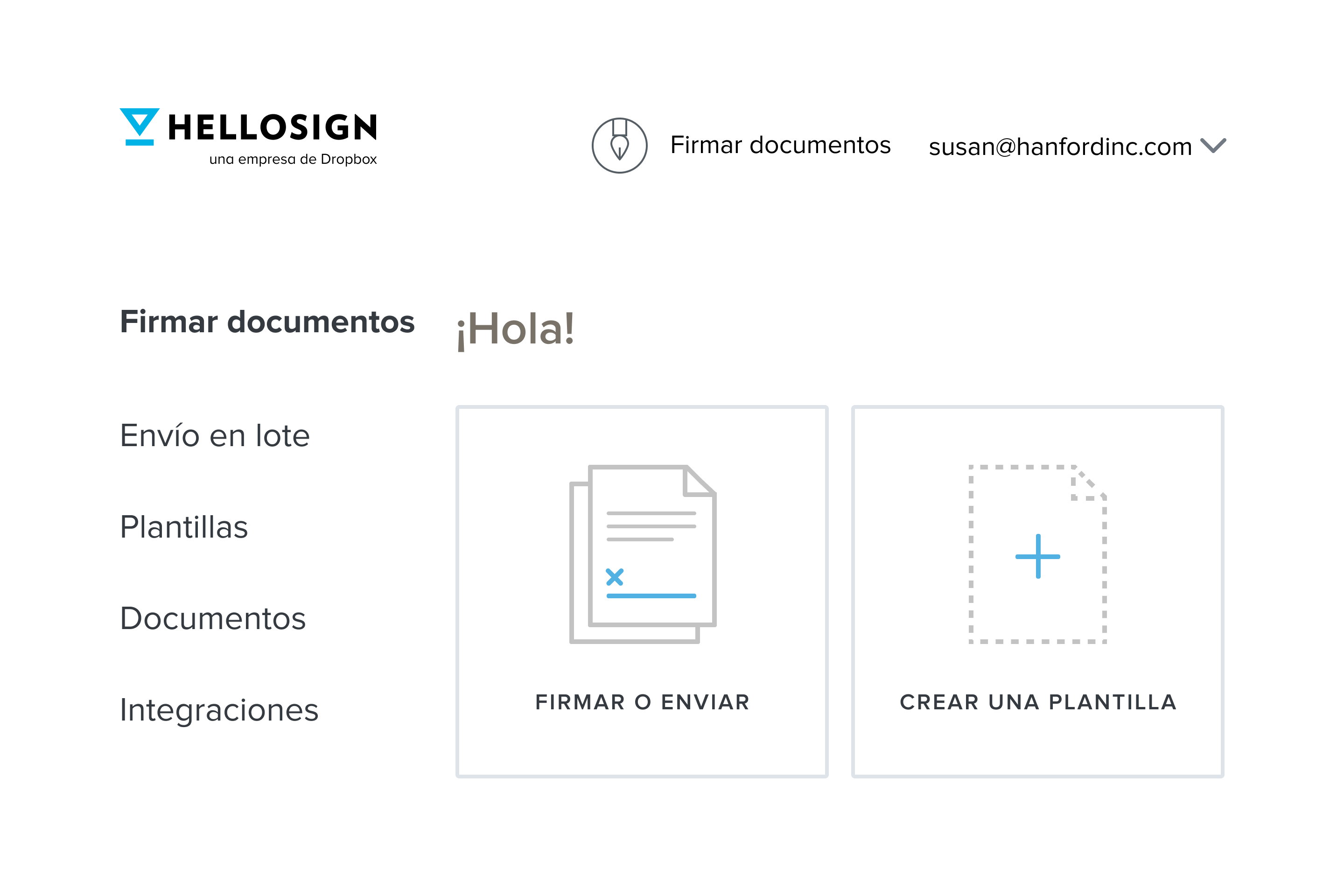 A product visual of the HelloSign welcome screen where the user has the option of sending and signing a document or create a template.
