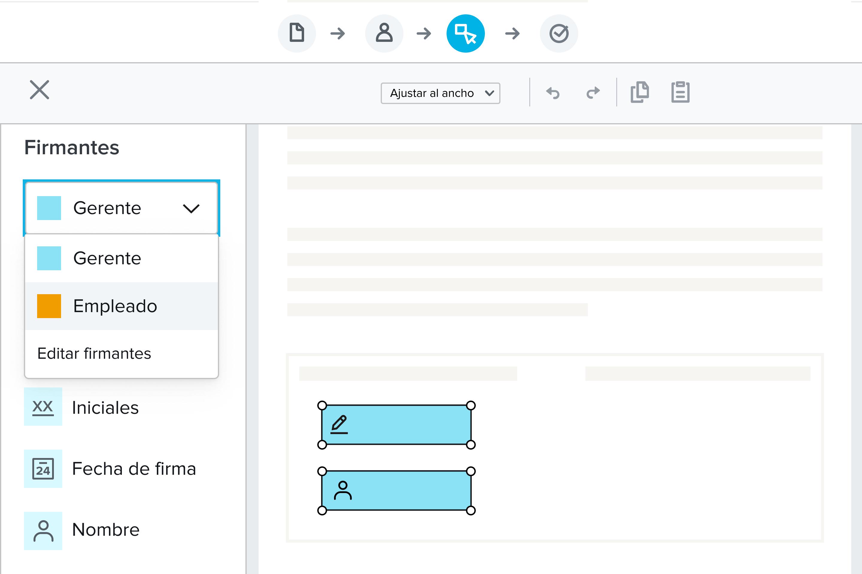 Creación de un producto visual tipo plantilla en HelloSign. Se han añadido los campos de firma y nombre.